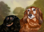 Puppies Digital Art Prints - Forever Friends Print by Linda Marcille