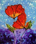 Abstract Floral Art Paintings - Forever Yours by Sharon Cummings