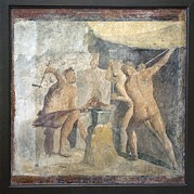 Forging Posters - Forge Of Hephaistos, Roman Fresco Poster by Sheila Terry
