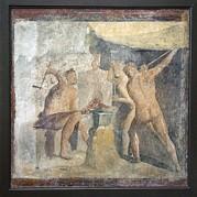 Forge Of Hephaistos, Roman Fresco Print by Sheila Terry