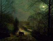 Moonlight Paintings - Forge Valley by John Atkinson Grimshaw