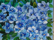 Forget Me Not Paintings - Forget Me Not by Zahreen Ramjaun