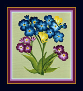 Forget Me Not Paintings - Forget me Nots and Butterflies with Borders by Barbara Griffin