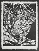 Portrait Woodblock Prints - Forgetting Print by Tamra Pfeifle Davisson
