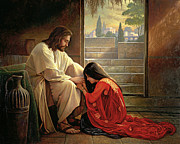 Red Framed Prints - Forgiven Framed Print by Greg Olsen
