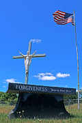 Christian Poster Originals - Forgiveness Jesus on Cross Statue With American Flag by Jeramie Curtice