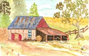 Postcard Painting Originals - Forgotten Barn Postcard by Warren Thompson
