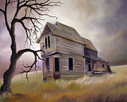 Haunted House Painting Framed Prints - Forgotten but not Gone Framed Print by James Christopher Hill