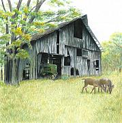 Barn Drawings Prints - Forgotten Print by Carla Kurt