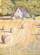 Haybales Painting Prints - Forgotten Chapel Print by Frances Evans