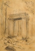 Autumn Landscape Drawings - Forgotten Gate by Dagmara Czarnota