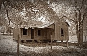 Photohraphy Prints - Forgotten Homestead in sepia Print by Laurinda Bowling