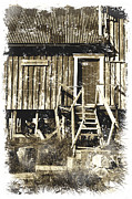 Wooden Building Digital Art Prints - Forgotten Wooden House Print by Heiko Koehrer-Wagner