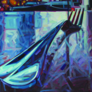 Wine Canvas Paintings - Fork by Penelope Moore