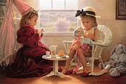 Girls Painting Metal Prints - Formal Luncheon Metal Print by Greg Olsen