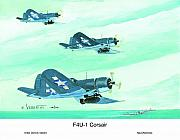 Corsair Fighter Paintings - Formation by Dennis Vebert