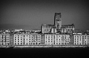 Liverpool Posters - Former Warehouses On Liverpool Waterfront Shoreline With Liverpool Anglican Cathedral Poster by Joe Fox