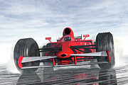 Wet Digital Art - Formula One Racer by Carol and Mike Werner