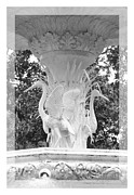 Forsyth Park Photos - Forsyth Fountain - Black and White 4 by Carol Groenen