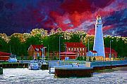 Fort Digital Art Framed Prints - Fort Gratiot Lighthouse Framed Print by Paul Bartoszek