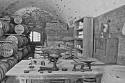Weights Posters - Fort Macon supply room BW 9071 Poster by Michael Peychich