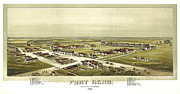 Vintage Map Digital Art Prints - Fort Reno Oklahoma Territory 1891 Print by Donna Leach