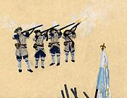 Marines Drawings Prints - Fort Toulouse Soldiers Firing Print by Beth Parrish