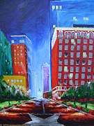Fort Worth Painting Prints - Fort Worth at Night Print by Barbara Sudik