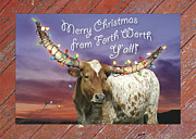 Longhorn Posters - Fort Worth Xmas Card Poster by Robert Anschutz
