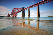 Puddle Metal Prints - Forth Rail Bridge Metal Print by Stu Meech