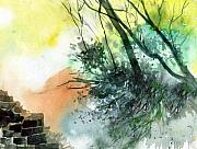 Rural Life Paintings - Fortress by Anil Nene