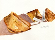 Original Watercolor Paintings - Fortune Cookies by Sheryl Heatherly Hawkins