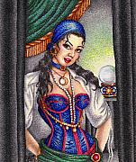 Jewels Drawings Framed Prints - Fortune Teller Framed Print by Scarlett Royal