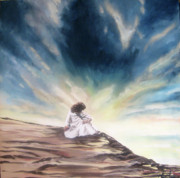 Jesus In Clouds Paintings - Forty Days by Lisa Ivey