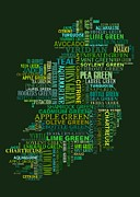 Ireland Map Digital Art - Forty Shades of Green dark bg by Stefan Birch
