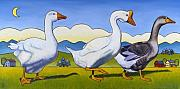 Geese Painting Prints - Forward March Print by Stacey Neumiller
