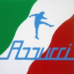 Football Paintings - Forza Azzurri by Oliver Johnston