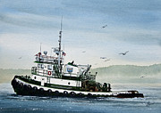 Artist James Williamson Fine Art Prints Prints - FOSS Tugboat MARTHA FOSS Print by James Williamson