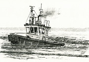 Northwest Drawings Prints - FOSS Tugboat SEA DUKE Print by James Williamson