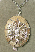 Gray Jewelry Originals - Fossil Coral and Silver 3-in-1 Spiderweb Pendant by Heather Jordan