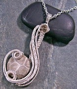 Wire-wrapped Jewelry Originals - Fossil Coral Coriolis Pendant by Heather Jordan