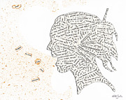 Thoughts Mixed Media - Found Poetry Silhouette by Nikki Marie Smith