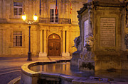 Night Lamp Prints - Fountain Aix-en-Provence Print by Brian Jannsen