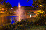Aluminum Framed Prints Prints - Fountain and Bridge at Night Print by John Herzog