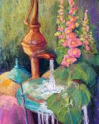 Garden Pastels Framed Prints - Fountain and Hollyhocks Framed Print by Candy Mayer