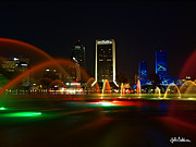 Jacksonville Framed Prints - Fountain At Night Framed Print by John Baldwin