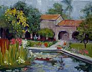 San Juan Paintings - Fountain at San Juan Capistrano by Kathy Busillo