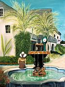 Coastal Pastels - Fountain at St. Augustine by Jan Amiss