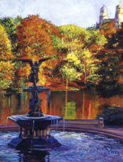 Central America Paintings - Fountain Central Park by David Lloyd Glover