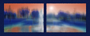 Sunshine Mixed Media Framed Prints - Fountain Dreamscape Diptych 2 Framed Print by Steve Ohlsen
